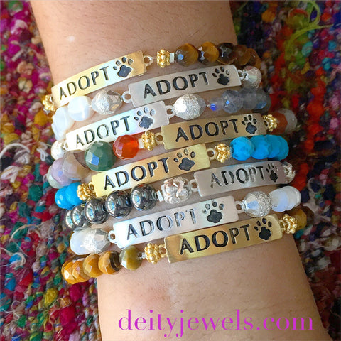 ADOPT Bar bracelets with Semi-Precious Stones. The proceeds help Homeless Animals in Need <3