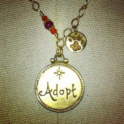 Original ADOPT and Paw charms necklace with Custom Beads - 15% of Proceeds Goes to Saving the Lives of Shelter Animals.