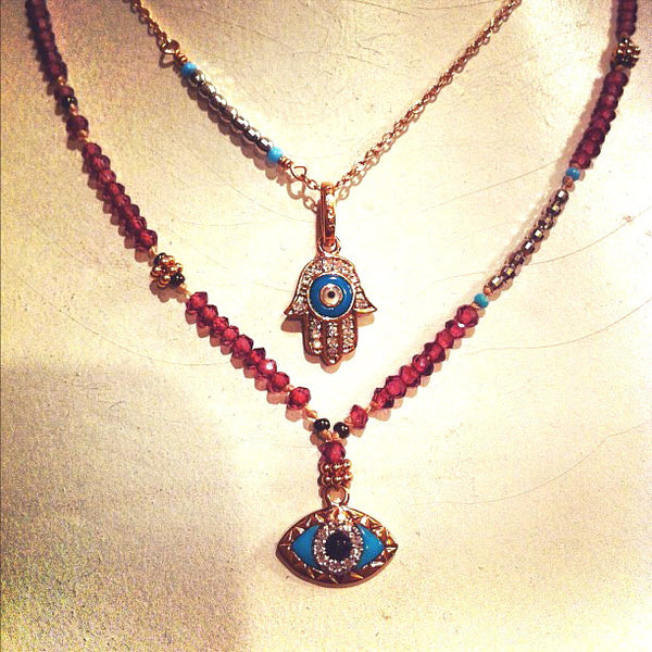 Deity Jewels Rose Gold, Pave Diamond and Enamel Hamsa and Eye Necklaces