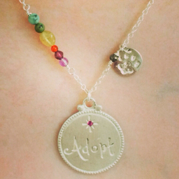 Original ADOPT and Paw charms necklace with Rainbow beads - 15% of Proceeds Goes to Saving the Lives of Shelter Animals.
