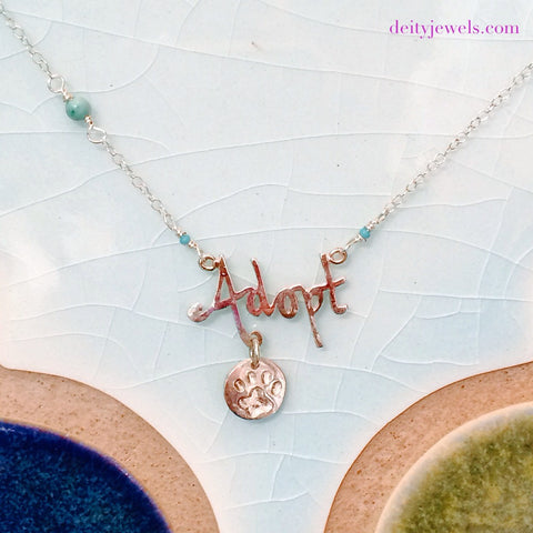 Scripted Adopt Charm Necklace - 15% of Proceeds Goes towards finding loving homes for shelter animals.