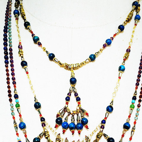 Blue Opal Tribal Chandelier Necklace