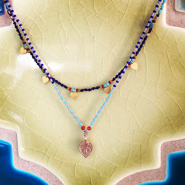 Lotus Petal Necklace with Multi-Colored Seed Beads