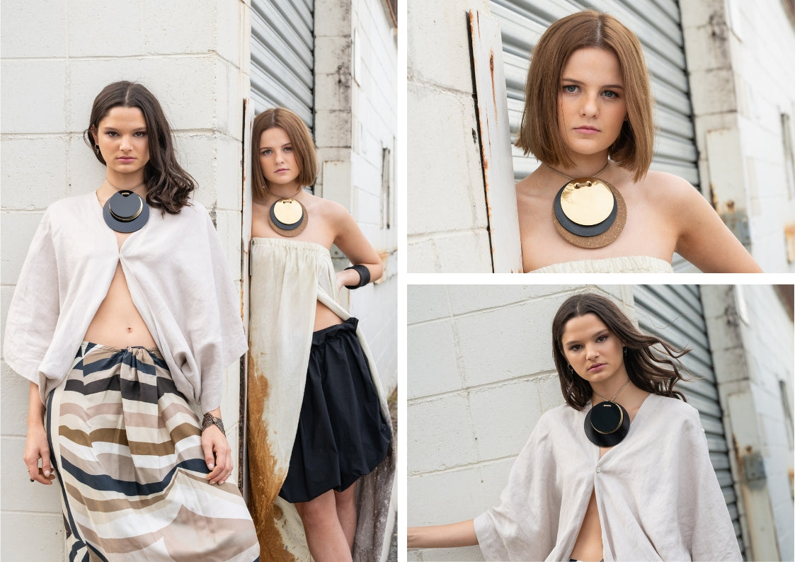 Apartment 5B B.Spoke jewellery necklaces on models Look 1
