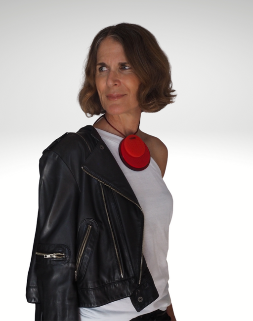 Red Dot Apartment 5B neckpiece on model