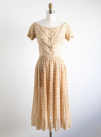 Vintage Beige Polka Dot Dress