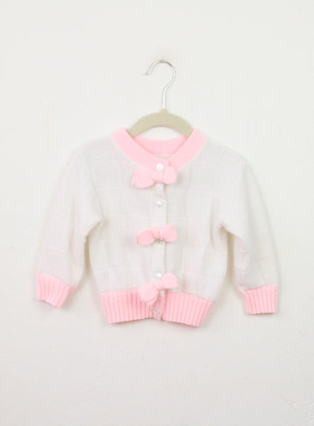 Vintage Girl's 1980's White Bow Cardigan