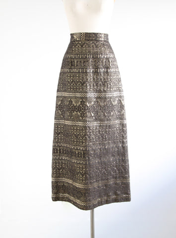Vintage Black and Gold Maxi Skirt