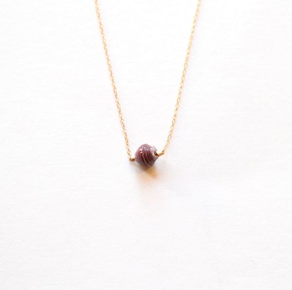 Delicate Droplet Burgundy Necklace by 31 Bits