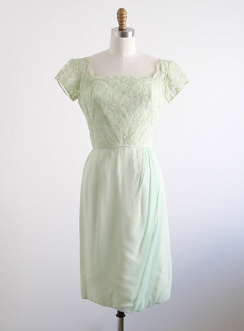Vintage 1960's Mint Silk Lace & Chiffon Dress