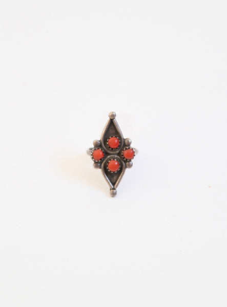 Vintage 1970's Sterling & Coral Teardrop Ring - Size 5.5