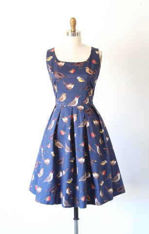 Navy Bird Print Dress