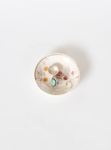Vintage Round Ring Dish with Flowers