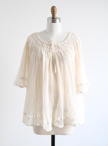 Vintage Cream Gauze & Ribbon Top