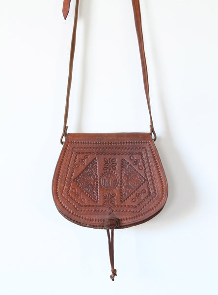 Vintage Cognac Leather Tooled Leather Bag