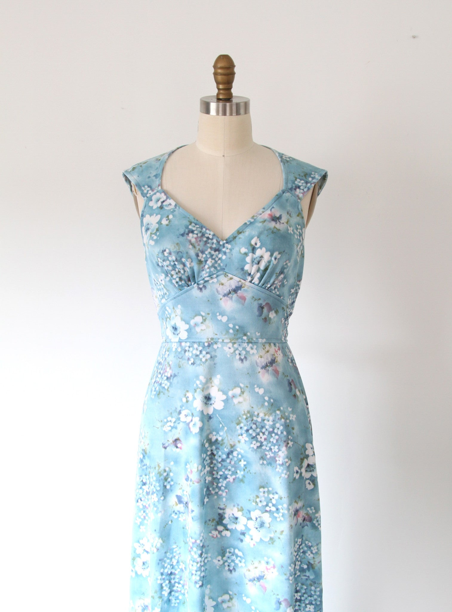 Vintage Blue Floral Maxi with Open Back