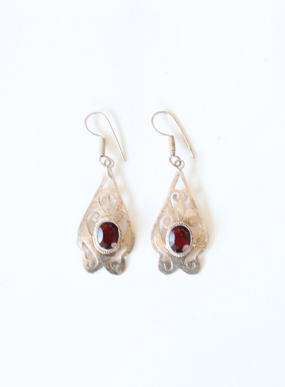 Vintage Sterling & Garnet Earrings