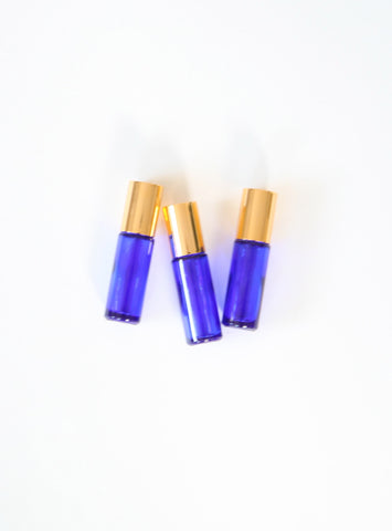 Cobalt Blue 5ml Roller Bottle Gold Cap - Set of 3