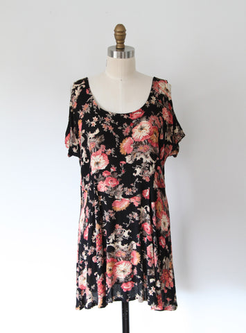 Vintage Floral Open Shoulder Dress