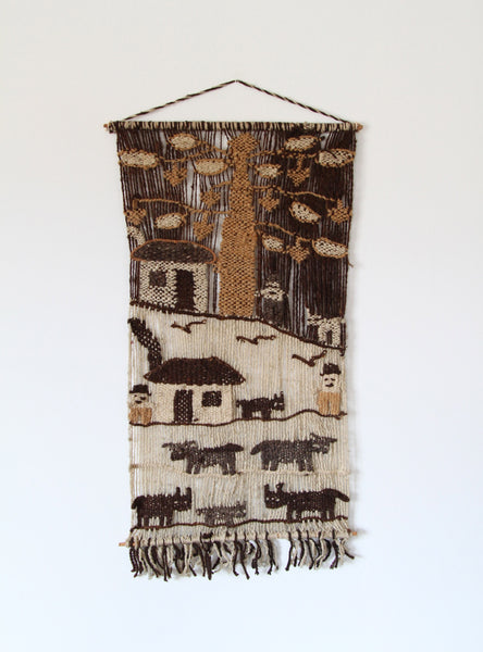 Vintage Handwoven Village Wall Hanging