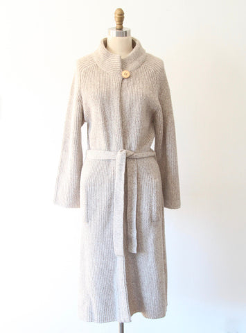 Long Taupe Cardigan Sweater