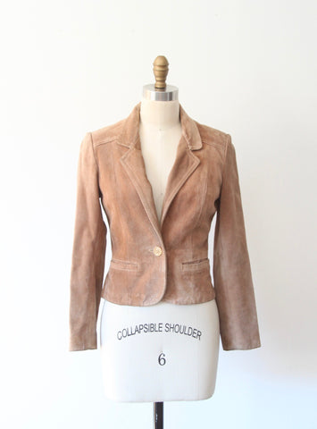 Tan Fitted Suede Blazer