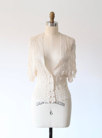 Cream Openwork Knit Top