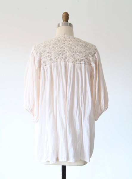 Cream Crochet & Gauze Top with Embroidery