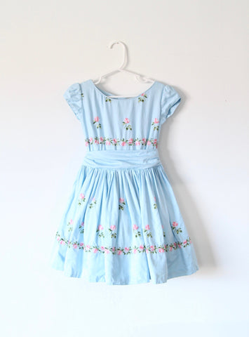 Vintage Children's Blue Dress with Embroidered Flowers