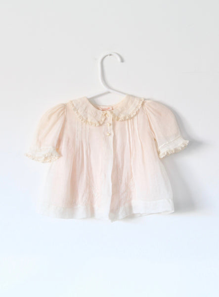 Vintage Baby Silk Top with Embroidery & Lace