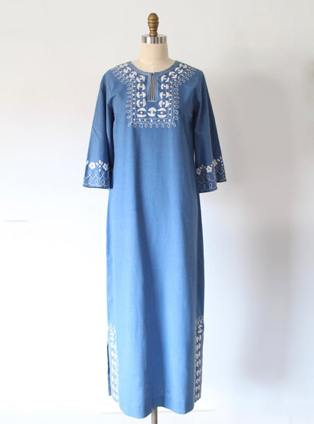 Vintage Chambray Embroidered Maxi Dress