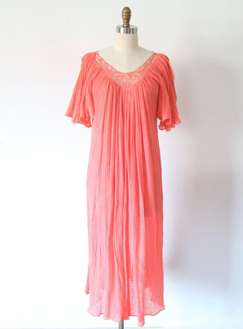 Vintage Pink Grapefruit Gauze Dress