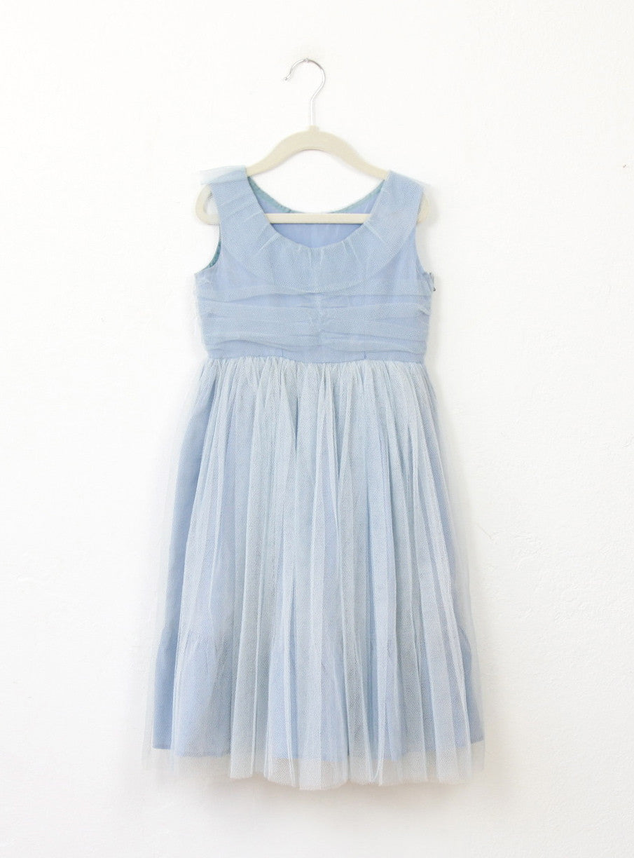 Vintage Girl's 1950's Blue Tulle Dress - 5/6