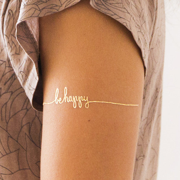 Gold Be Happy Script Tattly Temporary Tattoo
