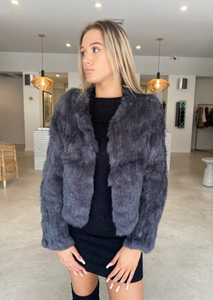 MELANIE FUR JACKET - DARK GREY
