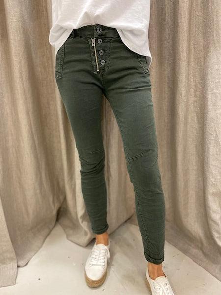 ITALIAN BUTTON JEANS - MILITARY