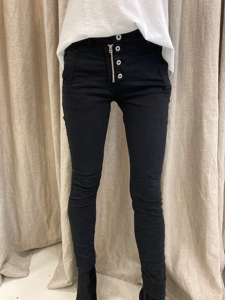 ITALIAN BUTTON JEANS - BLACK