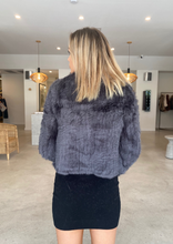 Load image into Gallery viewer, MELANIE FUR JACKET - DARK GREY