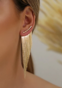 GOLDEN FRINGE EARRINGS LONG