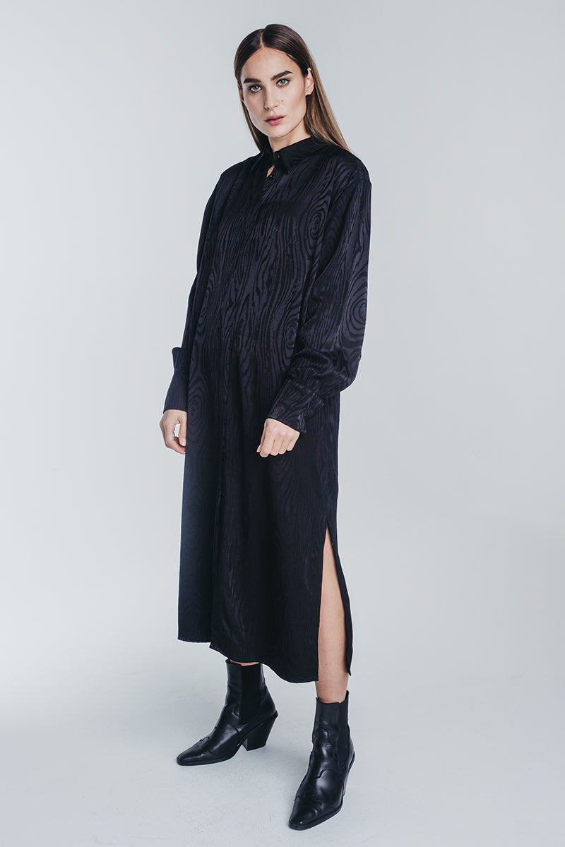 KAARNA long shirt dress in black