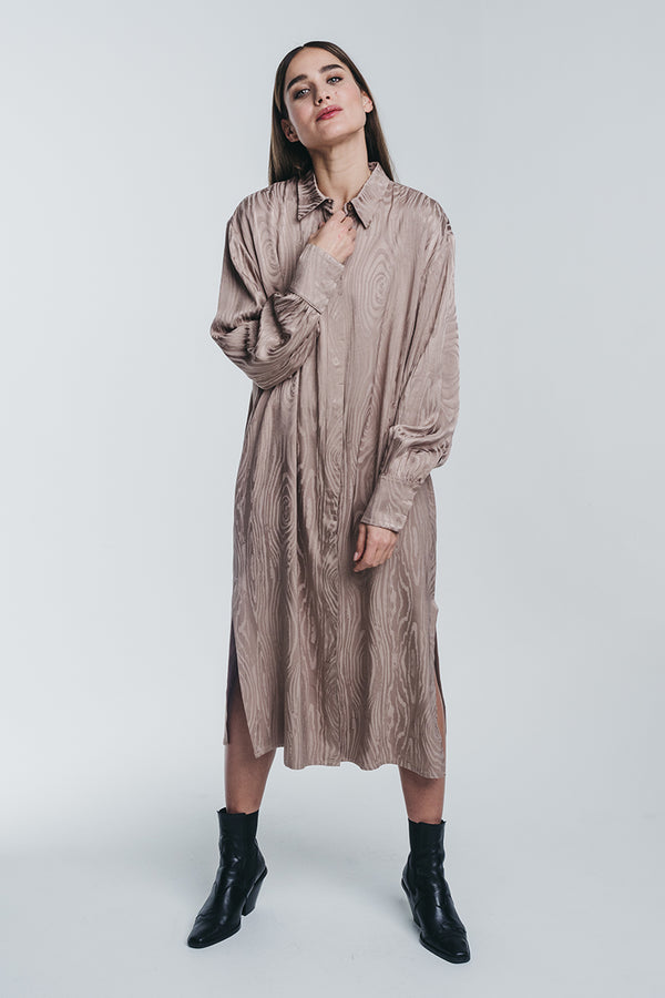 KAARNA long shirt dress in sand