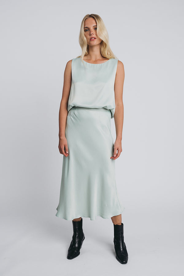 KAJO slip skirt in misty green