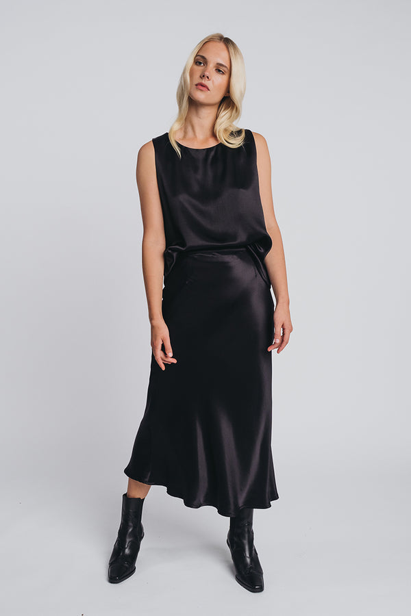 KAJO slip skirt in black