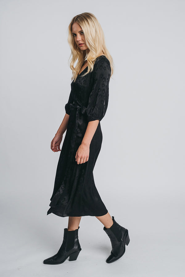 NEVA midi wrap dress in black