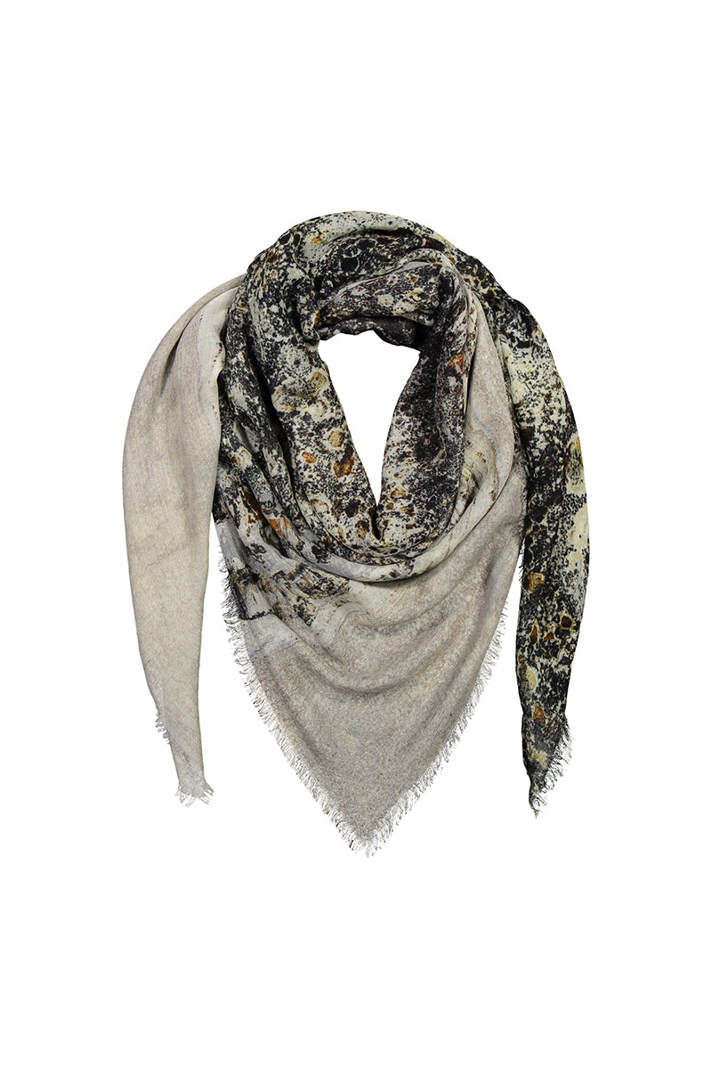 REIDAR wool silk scarf 'Winter Descends From the Fells to the Fens'