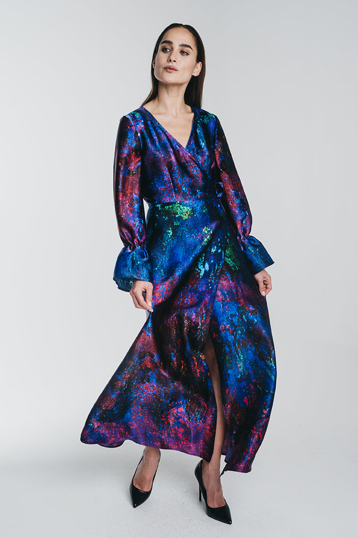 REIDAR wrap silk dress
