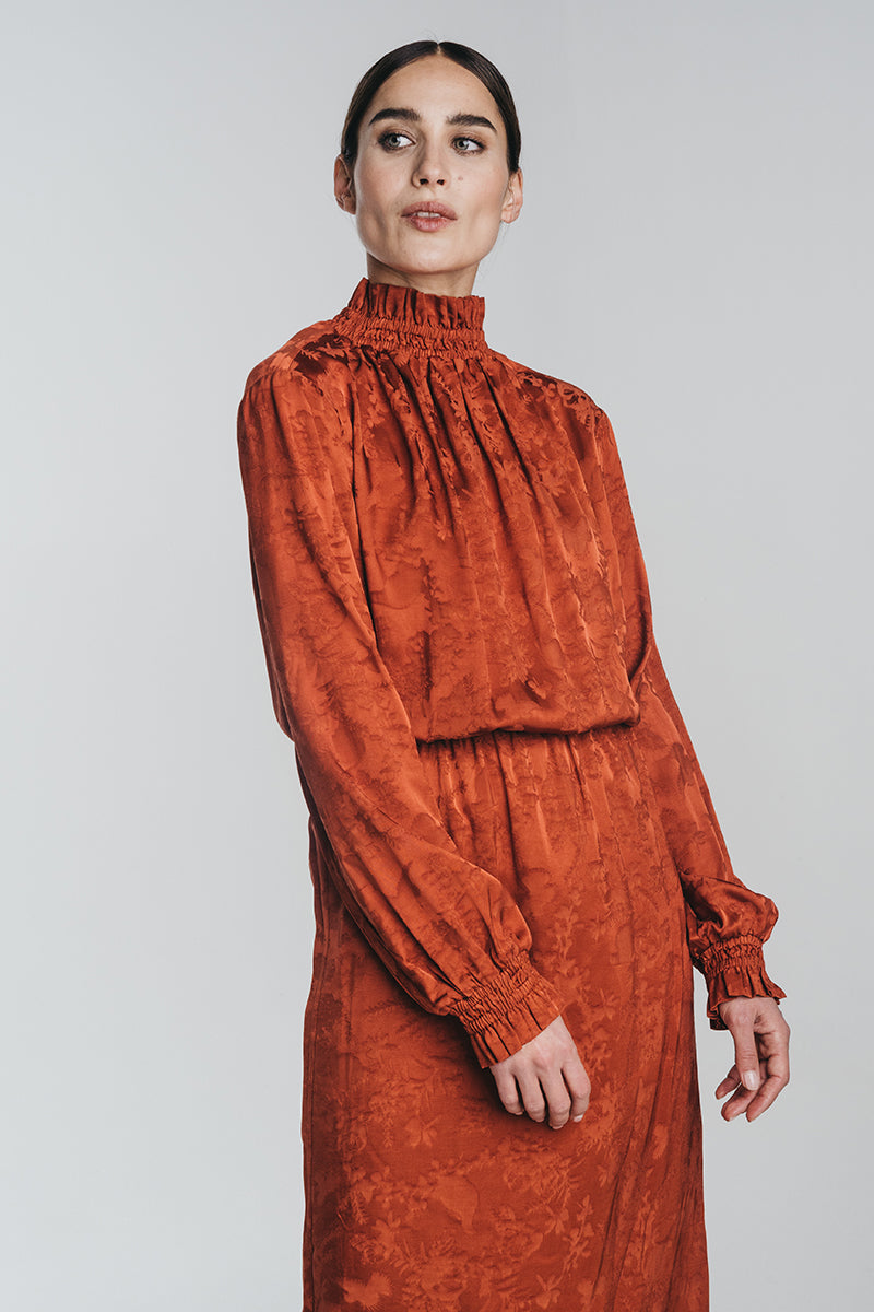 RUSKA midi dress in copper
