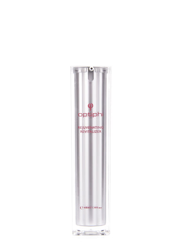 Rejuvenating Revitalizer, the optiphi flagship product, actively reduces wrinkles, age spots and uneven skin tone, addresses UV damage and balances sebum production for a multi-targeted anti-aging effect.