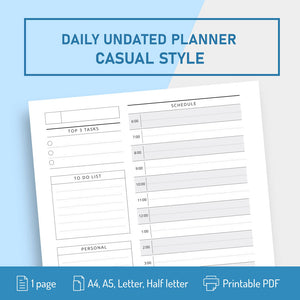 Undated Daily Planner Template Original Style - Digital Download