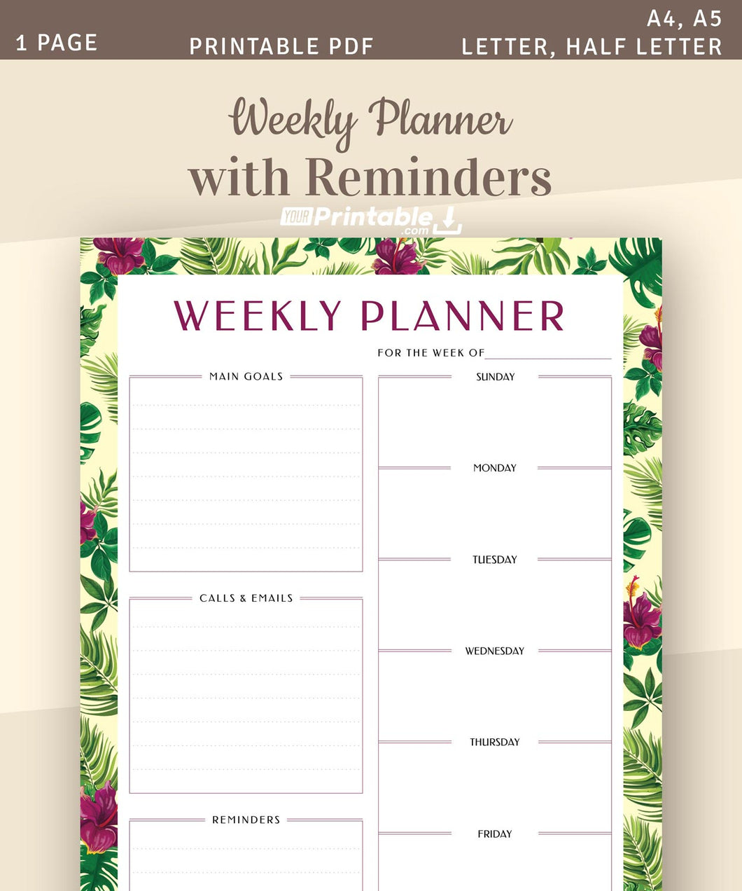 Undated Weekly Planner with Reminders - Digital Download PDF Template